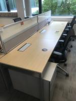 Steelcase íróasztal sor, 3 fős íróasztal, használt irodabútor